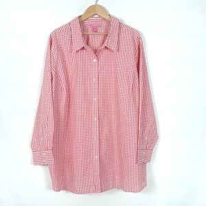 Women Within gingham pink and white shirt 3X